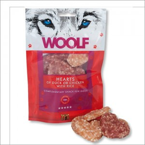 BRIT WOOLF SNACK HEARTS OF DUCK/CHICK/RICE 100G